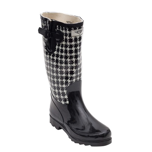 Women's Tall Rubber Two Tone Black and White Rain boots