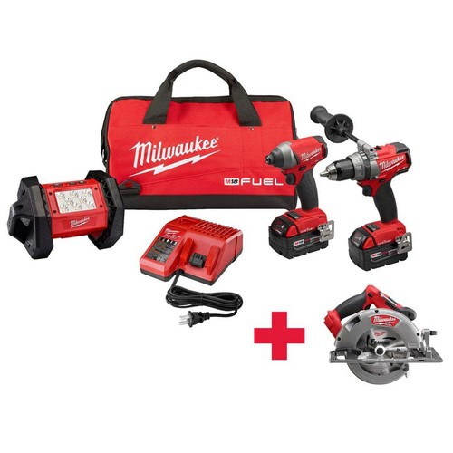 Milwaukee M18 FUEL ONE-KEY 18-Volt Lithium-Ion Brushless Cordless Hammer Drill/Impact Driver/Light Combo Kit W/ Free FUEL Circ Saw