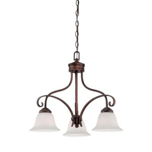Millennium Lighting 3-Light Rubbed Bronze Chandelier with Etched White Glass