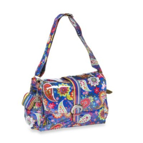 Kalencom Laminated Single Buckle Diaper Bag in Cobalt Paisley