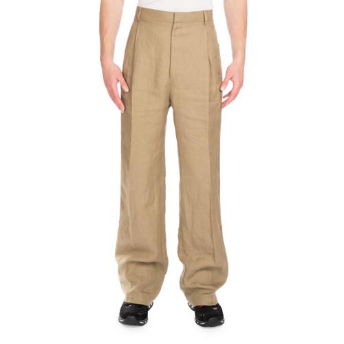 GIVENCHY Linen Wide-Leg Track-Stripe Pants, Beige