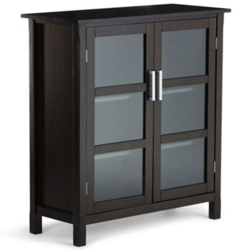 Simpli Home Kitchener 39-Inch Medium Storage Cabinet in Dark Walnut Brown