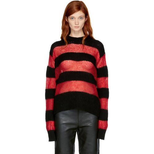 MCQ ALEXANDER MCQUEEN Black & Red Striped Crewneck Sweater