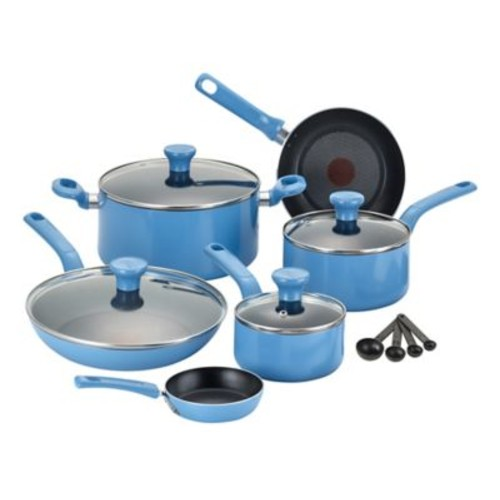 T-fal Excite 14 Piece Cookware Set; Blue