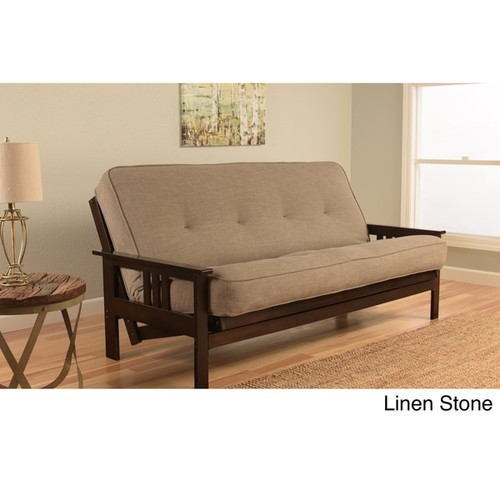 Somette Beli Mont Espresso-finish/Linen Mattress Futon Set