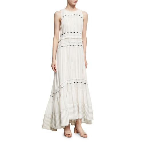 3.1 PHILLIP LIM Pintuck Sleeveless Silk Gown Dress W/ Ties, White