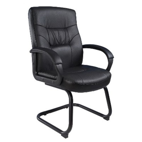 Executive Mid Back Leatherplus Guest Chair with Cantilever Sled Base Black - Boss Office Products