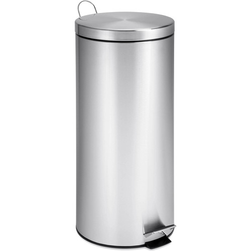 Honey-Can-Do TRS-02110 Round Stainless Steel Step Trash Can with Liner, Chrome, 30-Liter Per 8-Gallon [1]