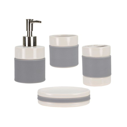 HOME basics 4-Piece Bath Accessory Set with Rubber Grip in White