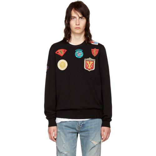 SAINT LAURENT Black Wool Multi Patch Sweater