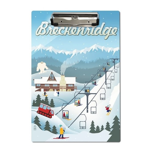 Ski Breckenridge CO- Retro Ski Resort - LP Artwork (Acrylic Clipboard)