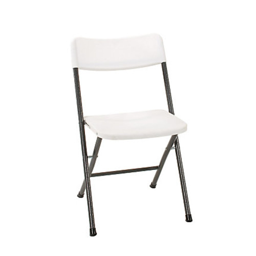 Cosco Resin Folding Chairs, White Speckle/Pewter, Set Of 4