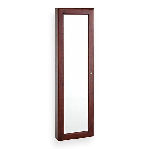 Southern Enterprises 48-1/4 in. x 14-1/2 in. Wall-Mounted Jewelry Armoire with Mirror in Cherry