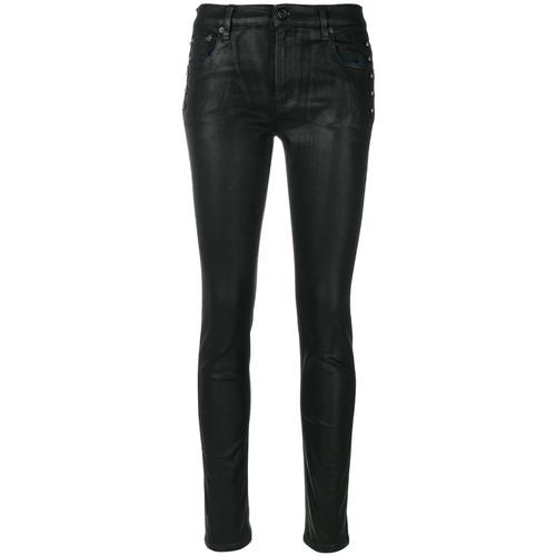 pierced coated skinny jeans