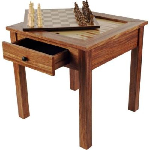 Trademark Games Deluxe Wooden 3-in-1 Chess and Backgammon Table Set