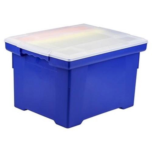 Storex Portable File Tote - Blue