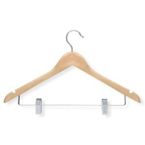 Honey-Can-Do Maple Finish Basic Suit Hanger with Clips (12-Pack)