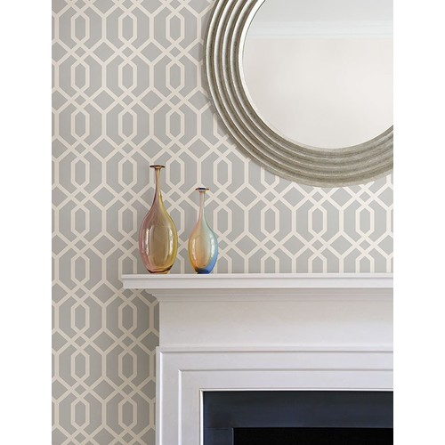 Trellis Grey Montauk Wallpaper from the Essentials Collection by Brewster Home Fashions - 2 [Quantity : 2]