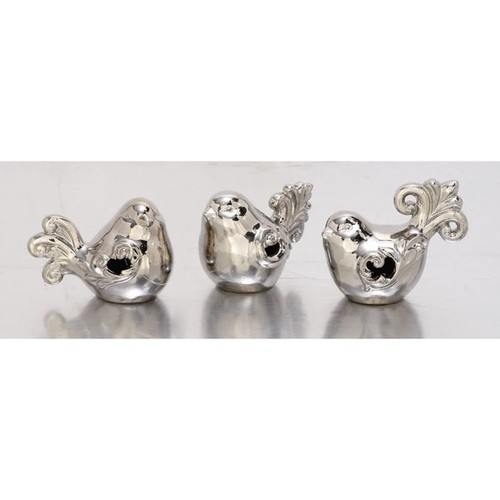 Adorable Set Of Three Ceramic Silver Birds - Ceramic