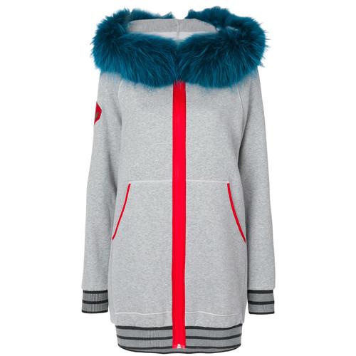 pinup print zipped hoodie