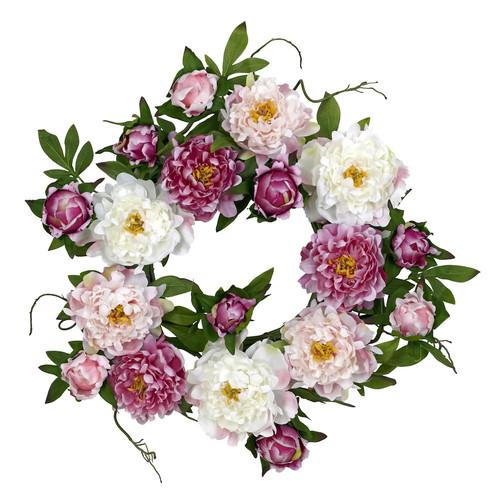 nearly natural 22-in. Silk Peony Wreath