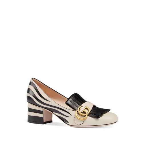 GUCCI Marmont Zebra Stripe Mid Heel Loafers