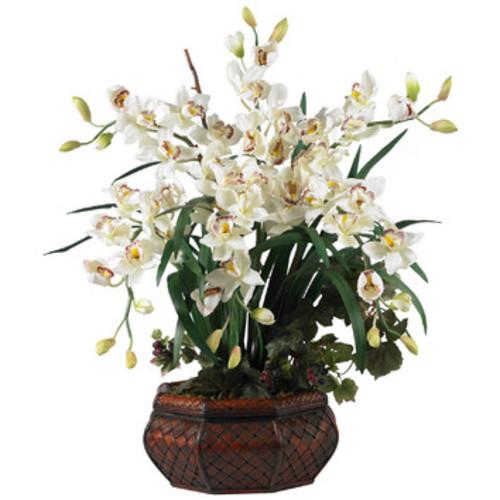 Large Cymbidium Silk Flowers in White