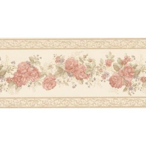 Mirage Tiff Peach Satin Floral Wallpaper Border