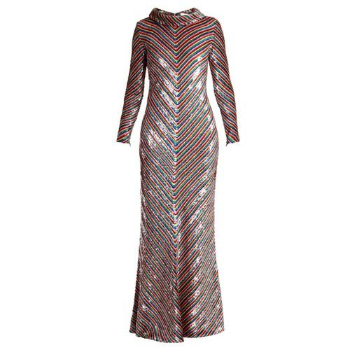 Rainbow-striped sequin-embellished silk maxi dress