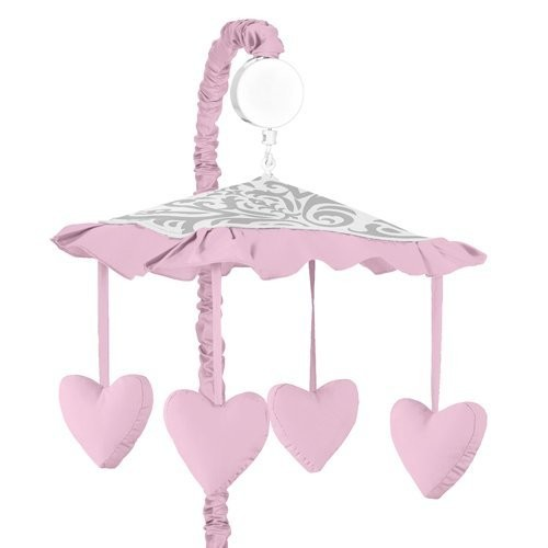 Pink, Gray and White Elizabeth Musical Baby Crib Mobile by Sweet Jojo Designs