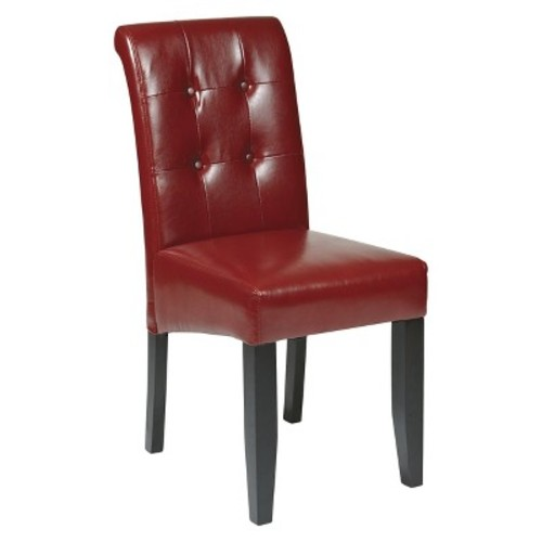 Parsons Button Back Dining Chair Wood - Crimson Red - Office Star