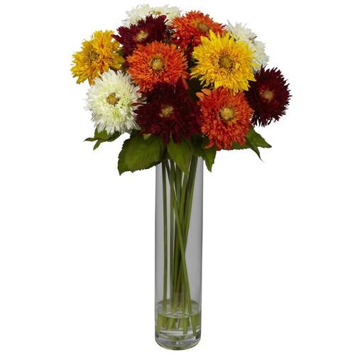 nearly natural Liquid Illusion Silk Sunflower Floral Arrangement