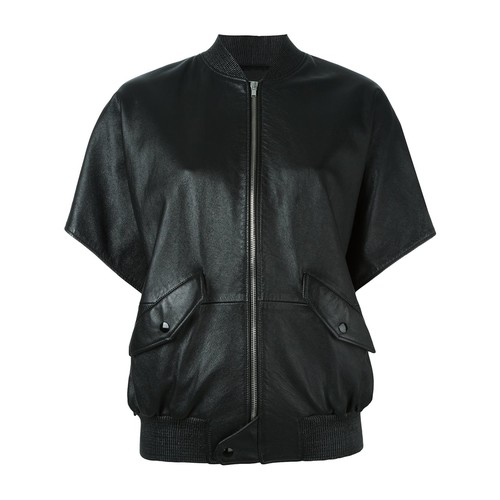 SAINT LAURENT Leather Short Sleeve Bomber Jacket