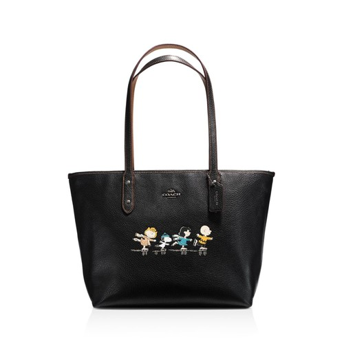 Boxed City Zip Tote in Refined Natural Pebble Leather with Snoopy