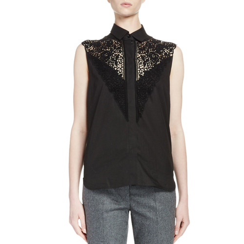 STELLA MCCARTNEY Sleeveless Lace-Yoke Cotton Blouse, Black