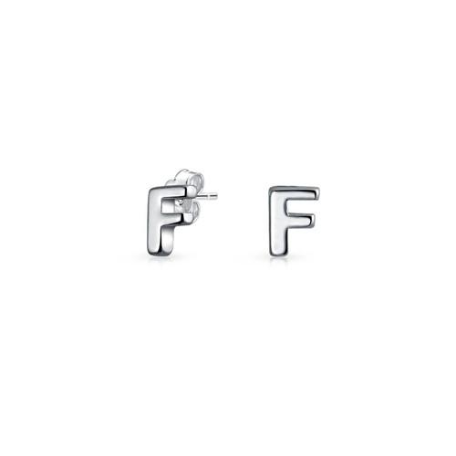 Bling Jewelry Modern Alphabet Letter F Initial Stud earrings 925 Sterling Silver 55mm