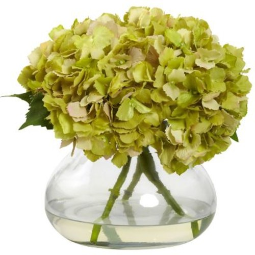 Nearly Natural 1357-GR Large Blooming Hydrangea with Vase, Green