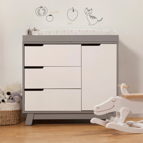 Babyletto Hudson 3-Drawer Changer Dresser with Removable Changing Tray, Grey / White [Grey/White]