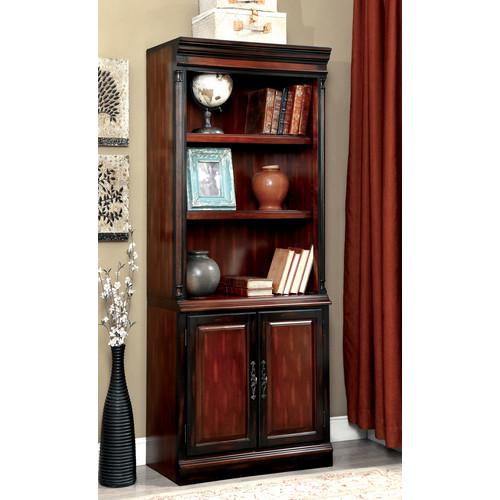 Furniture of America Locke Cherry and Black Bookcase