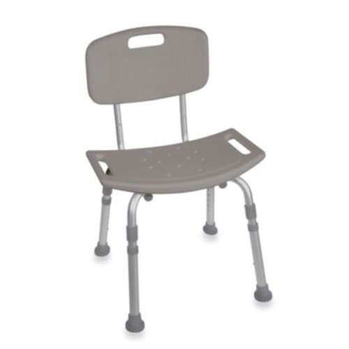 Drive Medical Bathroom Safety Shower Tub Chair with Back in Grey