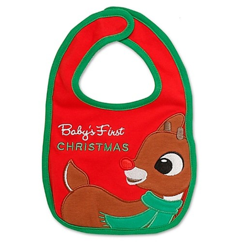 Baby's First Christmas Rudolph Bib in Red