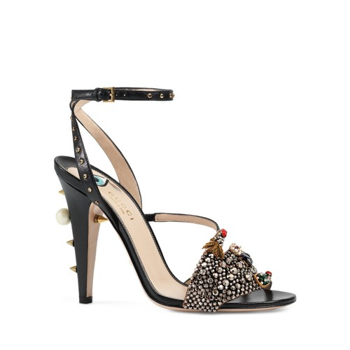 GUCCI Wangy Crystal Hand Strappy High Heel Sandals
