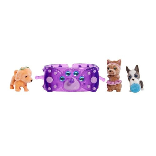 Puppy in My Pocket 3 Charm Puppies with Bracelet - Purple