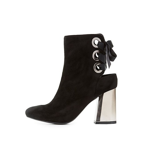Lace-Up Back Mirrored Heel Booties