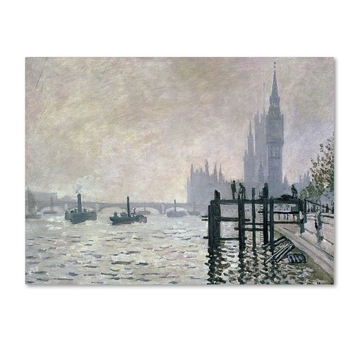 Trademark Global Claude Monet 'The Thames Below Westminster' Canvas Art [Overall Dimensions : 14x19]