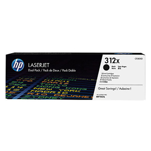 HP LaserJet 312X High-Yield Black Toner Cartridges (CF380XD), Pack Of 2