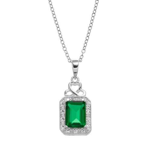 RADIANT GEM Sterling Silver Simulated Emerald Halo Pendant Necklace