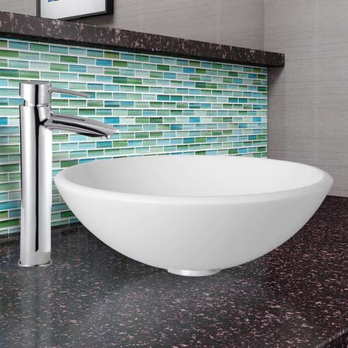 VIGO Elizabeth Phoenix Stone Vessel Bathroom Sink Set With Shadow Vessel Faucet In Chrome