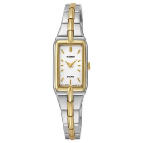 Seiko Ladies' 15mm White Dial Rectangular Solar Watch in Two-Tone Stainless Steel
