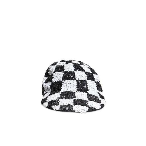 Checkered Sequin Duckbill Cap